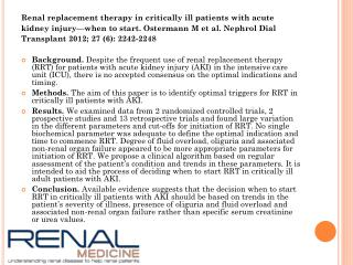 Renal replacement therapy in critically ill patients with acute