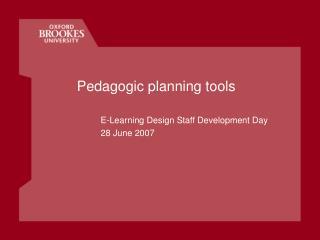 Pedagogic planning tools
