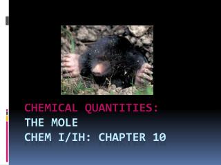 CHEMICAL QUANTITIES:   THE MOLE chem i / Ih : Chapter 10