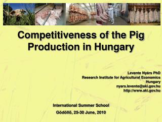 Competitiveness of the Pig Production in Hungary