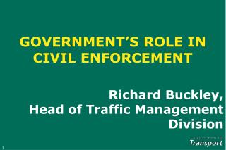 GOVERNMENT'S ROLE IN CIVIL ENFORCEMENT
