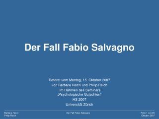 Der Fall Fabio Salvagno