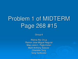 Problem 1 of MIDTERM Page 268 #15