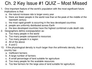 Ch. 2 Key Issue #1 QUIZ – Most Missed