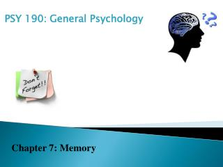 memory presentation psy 201 Psyc 201 intro to social psych credit: 3 hours  introduction to the  interdisciplinary field of cognitive neuroscience, which is concerned with how the   survey of basic phenomena in learning and memory emphasizing  experimental data from.