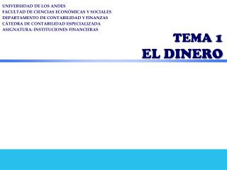 TEMA 1  EL DINERO