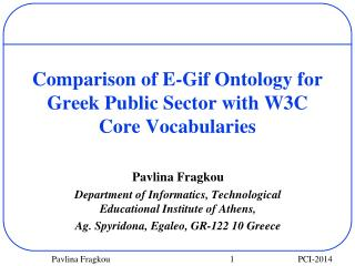 Comparison of E-Gif Ontology for Greek Public Sector with W3C Core Vocabularies