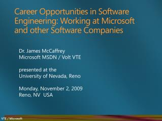 Career Opportunities in Software Engineering: Working at Microsoft and other Software Companies