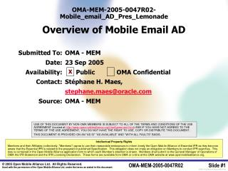OMA-MEM-2005-0047R02-Mobile_email_AD_Pres_Lemonade Overview of Mobile Email AD