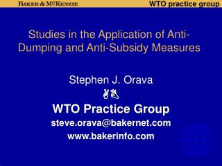 Studies in the Application of Anti-Dumping and Anti-Subsidy Measures