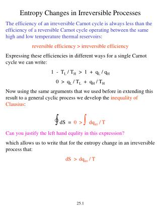 Entropy Changes in Irreversible Processes