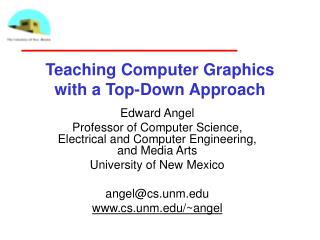 Teaching Computer Graphics with a Top-Down Approach