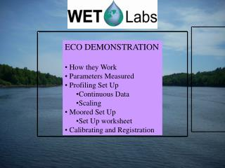 ECO DEMONSTRATION How they Work  Parameters Measured  Profiling Set Up Continuous Data Scaling
