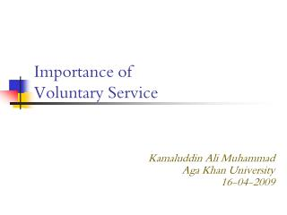 Importance of  Voluntary Service