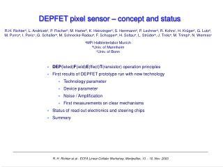 DEPFET pixel sensor – concept and status