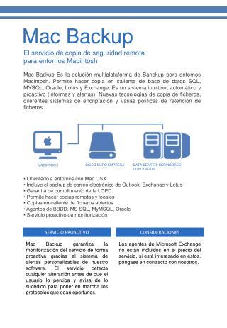 El servicio de copia de seguridad remota para entornos Macintosh