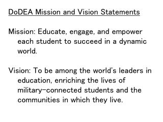 DoDEA  Mission and Vision Statements