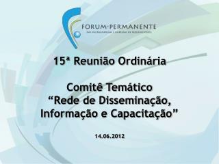 """15ª Reunião Ordinária Comitê Temático  """"Rede de Disseminação,  Informação e Capacitação"""""""