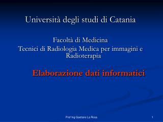 Università degli studi di Catania Facoltà di Medicina