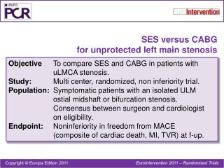 SES versus CABG for unprotected left main stenosis