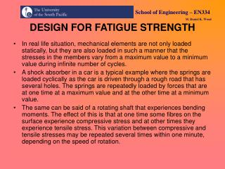 DESIGN FOR FATIGUE STRENGTH