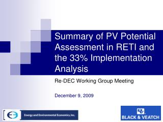 Summary of PV Potential Assessment in RETI and the 33 Implementation Analysis