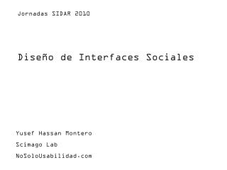 Diseño de Interfaces Sociales