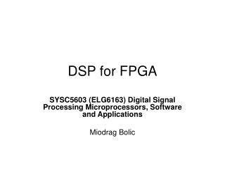 DSP for FPGA