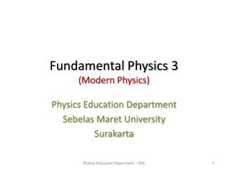 Fundamental Physics 3 (Modern Physics)