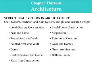 Chapter Thirteen Architecture