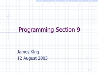 Programming Section 9