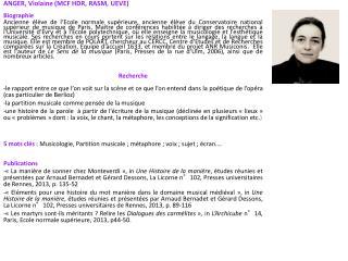 ANGER, Violaine (MCF HDR, RASM, UEVE) Biographie
