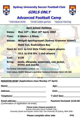 Sydney University Soccer Football Club GIRLS ONLY  Advanced Football Camp
