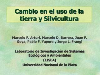 Cambio en el uso de la tierra y Silvicultura
