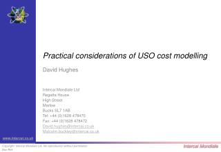 Practical considerations of USO cost modelling