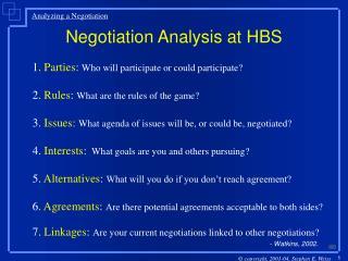 Negotiation Analysis at HBS