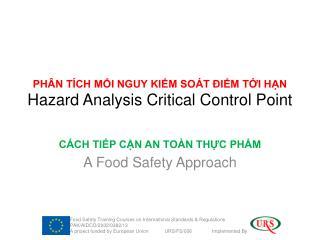 PHÂN TÍCH MỐI NGUY KIỂM SOÁT ĐIỂM TỚI HẠN Hazard Analysis Critical Control Point