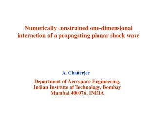 Numerically constrained one-dimensional interaction of a propagating planar shock wave