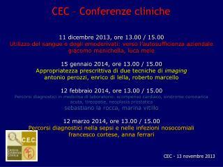CEC – Conferenze cliniche