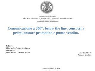 Comunicazione a 360°: below the line, concorsi a premi, instore promotion e punto vendita.