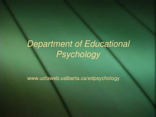 Department of Educational Psychology