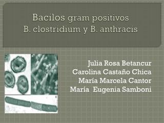 Bacilos  gram  positivos  B. clostridium y B. anthracis