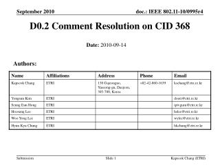 D0.2 Comment Resolution on CID 368