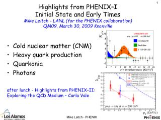 Cold nuclear matter (CNM) Heavy quark production Quarkonia Photons