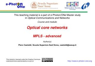 Optical core networks MPLS - advanced