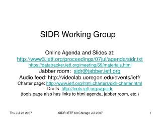 SIDR Working Group