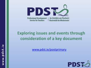 Exploring issues and events through consideration of a key document