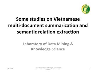 Some studies on Vietnamese  multi-document summarization and semantic relation extraction