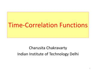 Time-Correlation Functions