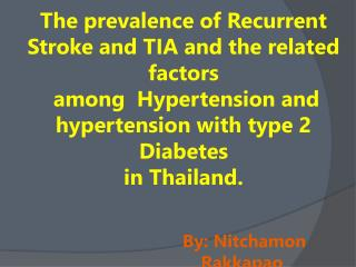 The prevalence of Recurrent Stroke and TIA and the related factors